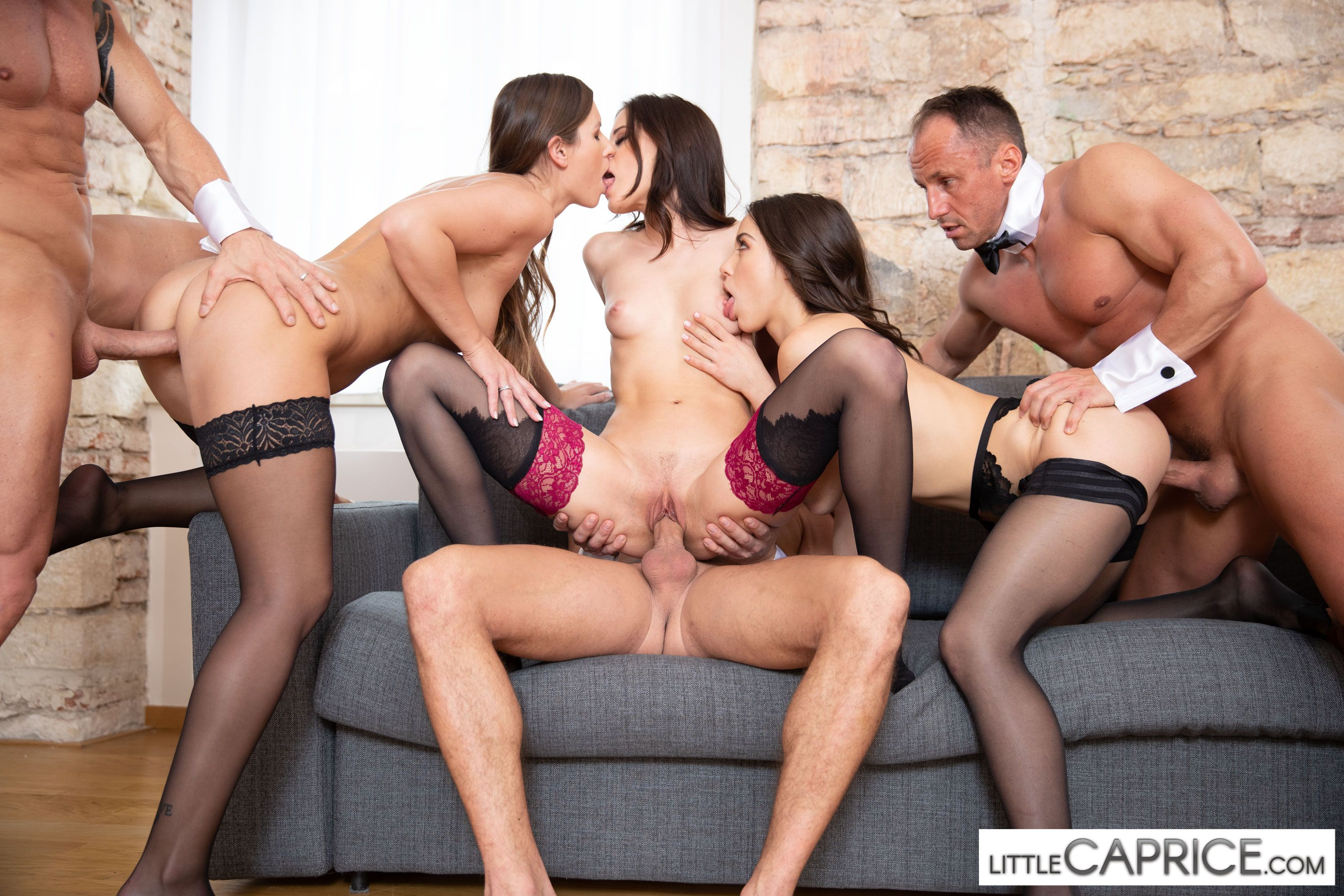 WeCumToYou group sex, three couples, Little Caprice